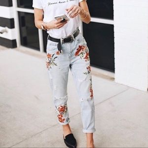 Topshop | Floral Distressed Mom Jeans 30